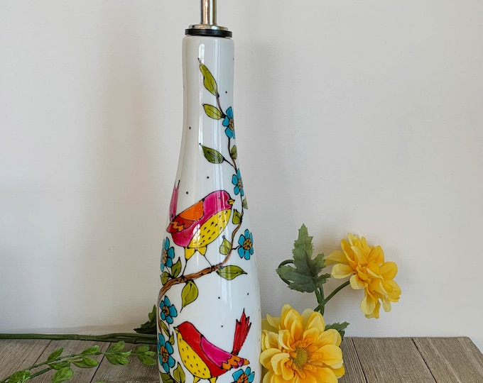 Olive oil Dispenser, porcelain, birds and flowers, vinegar, Maple sirop, Hand painted bottle
