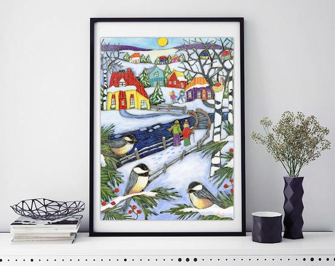 Poster, Art print, winter landscape, Chickadee Bird, Colourful houses, Wall decoration, winter snow, winter scene art print