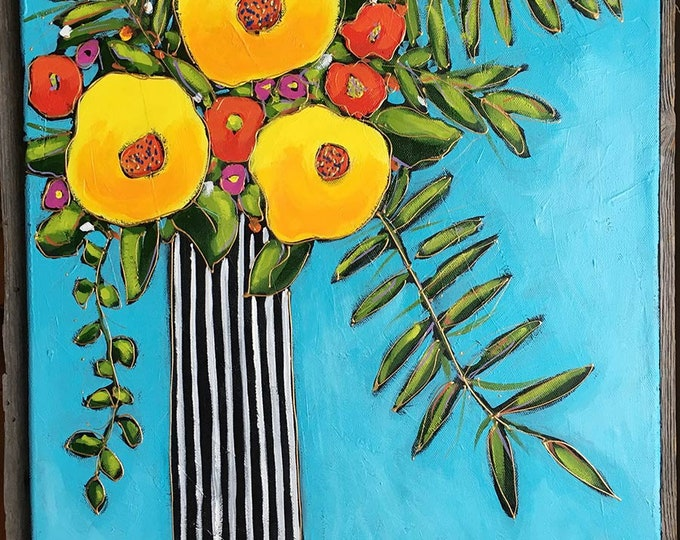 Original acrylic painting on canvas, Yellow and red flowers, black and white stripe vase, aqua blue background, home decor, hand painted