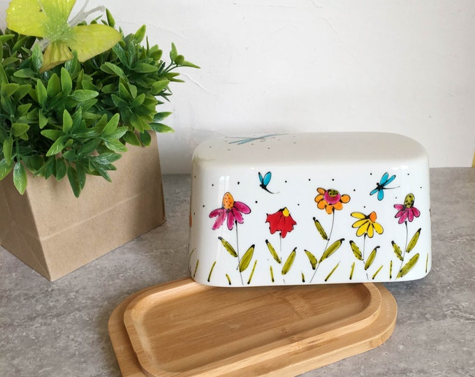 Featured listing image: Butter Dish with cover, Bamboo base, Porcelain lid, flowers and dragonfly, unique gift, hand painted by isamalo