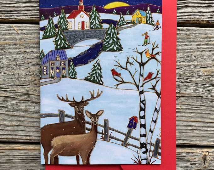 "Greeting card, 2 deer, winter scene, colourful houses, red cardinal,  5"" x 7"", by artist Isabelle Malo"