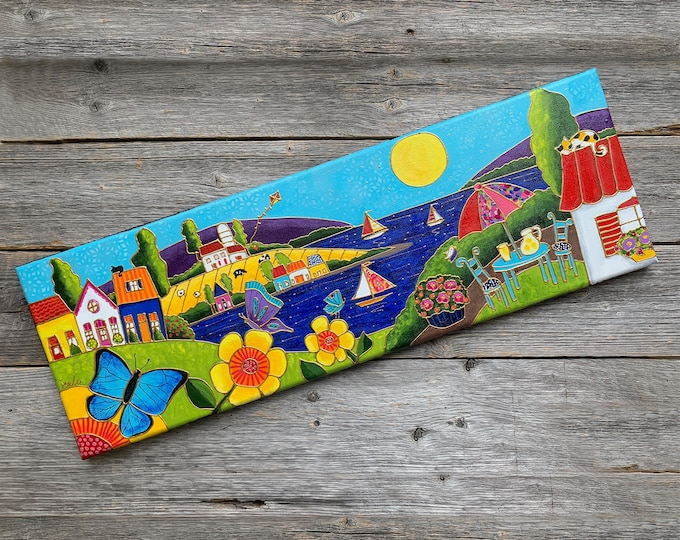 Original acrylic painting on canvas, sail boat and colourful houses landscape , whimsical art, folk art sail boat lover
