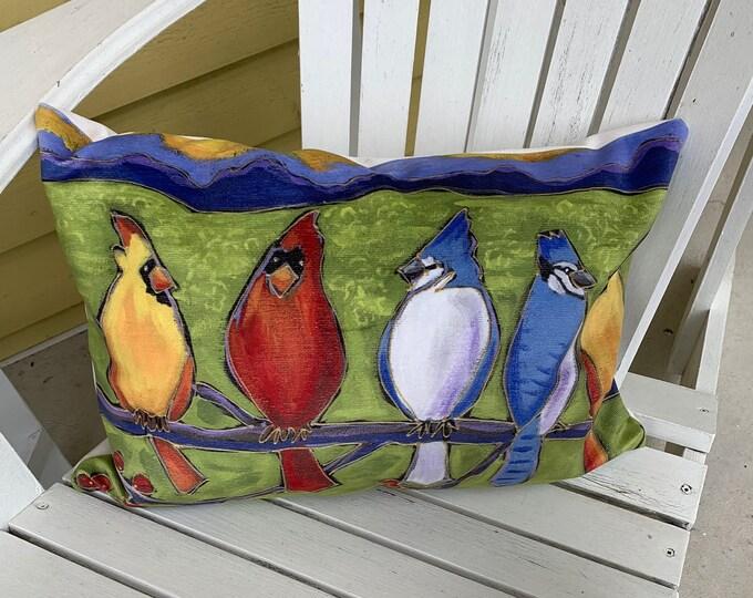 Bird Pillow case, Velveteen, blue jay, red cardinal bird, green background, home decoration gift, bird cushion gift