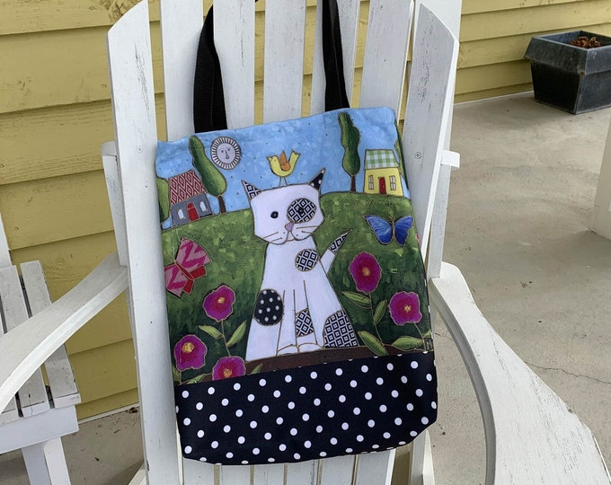 White Cat Tote bag, butterfly, bird, house, Canvas bag, shopping bag, Eco friendly bag, Cat lover gift bag