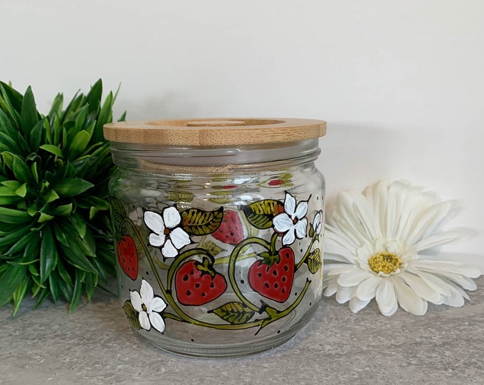 Glass jar with bamboo lid strawberry white flower cookie jar candy jar hand painted