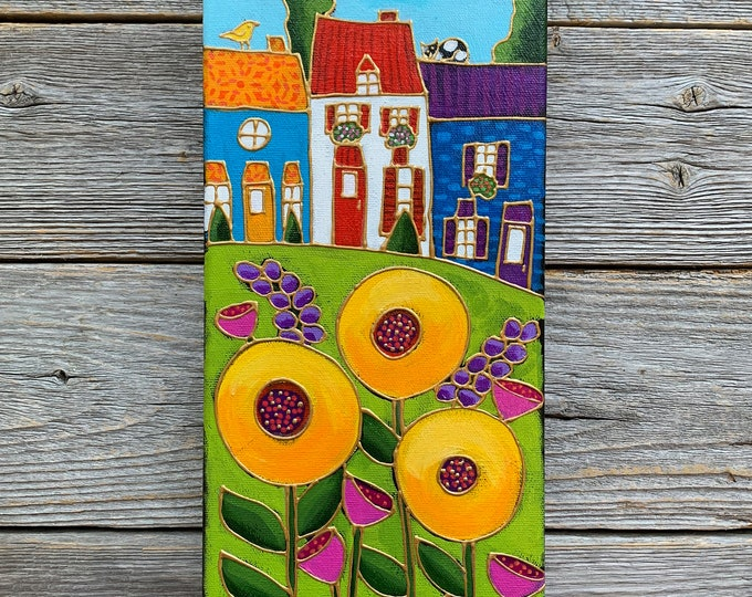 Original acrylic painting, colourful landscape, colourful houses, yellow flowers, hand paint by artist Isabelle Malo