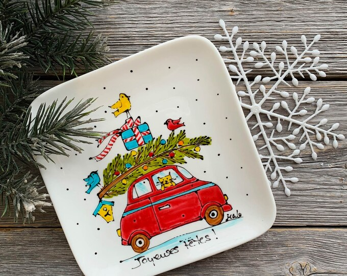 Small Square porcelain plate, Christmas tree on a red car, cat, bird, jewel tray, unique gift, Christmas gift, Hand painted