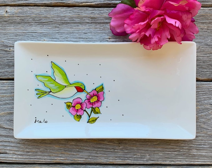 rectangle porcelain plate, humming-bird, pink flower, humming-bird lover gift, small tray, hand paint