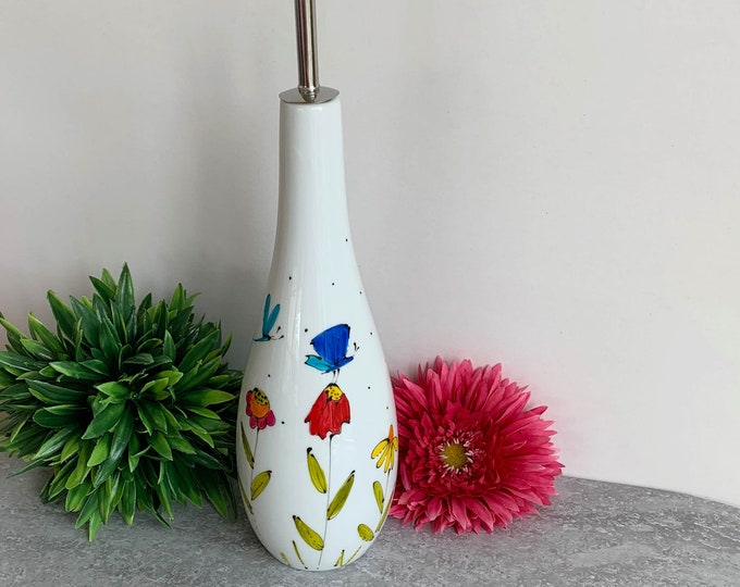 Oil vinegar dispenser white stoneware hand painted colourful flower butterfly dragonfly
