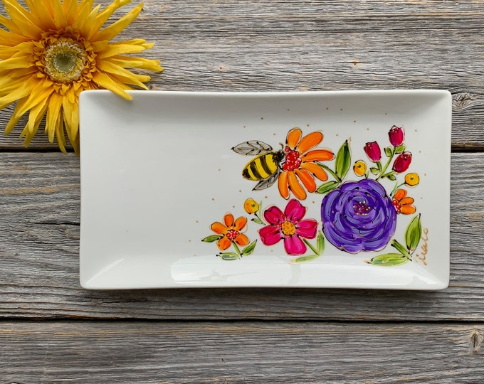Rectangle plate white porcelain bee flower hand paint