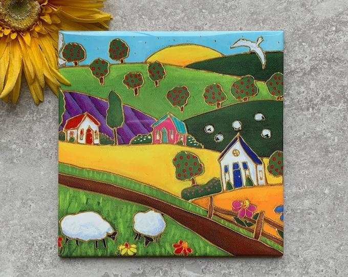 Ceramic tile square trivet country landscape apple tree  sheep art print
