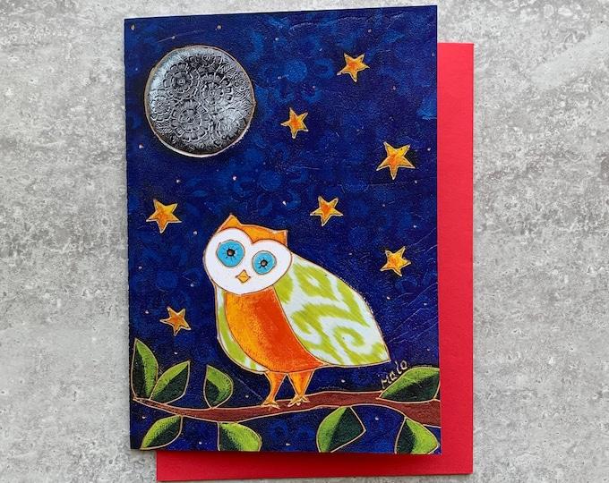 Greeting card birthday orange and green owl star