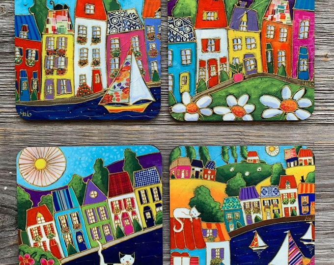 Set of Coasters wood cork colourful houses