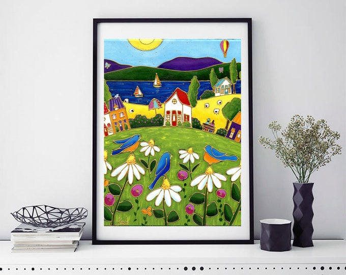 Poster wall art country landscape colourful houses blue merle daisy sheep lake sailboat