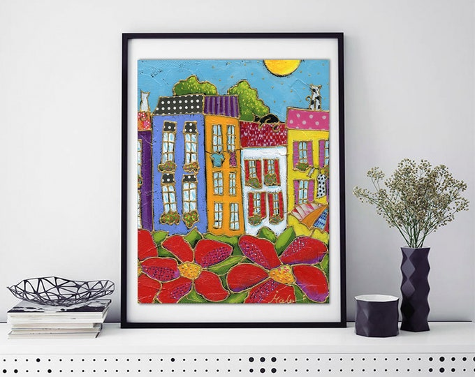 Poster wall decoration colourful houses red flower