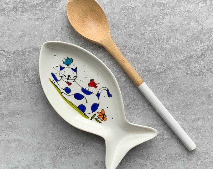 spoon holder fish shape cat flower bird small tray hand paint