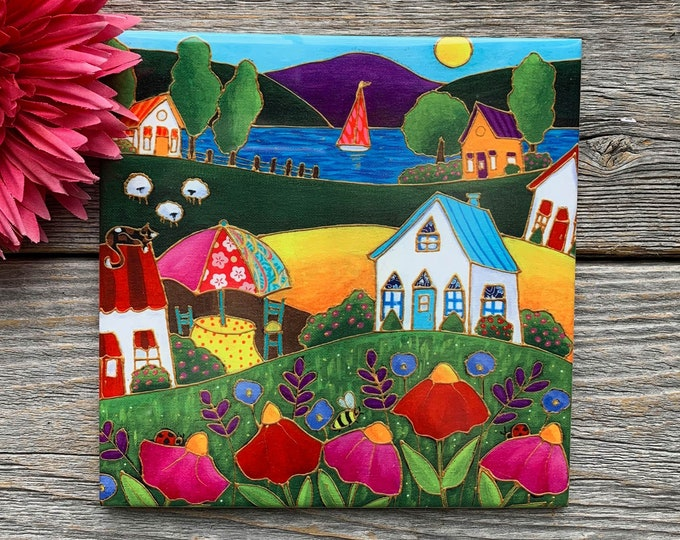 Ceramic tile square trivet colourful landscape red and pink flower lake sailboat sheep art print ceramic