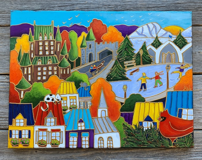 Original acrylic painting on canvas landscape colourful Quebec city autumn winter skater