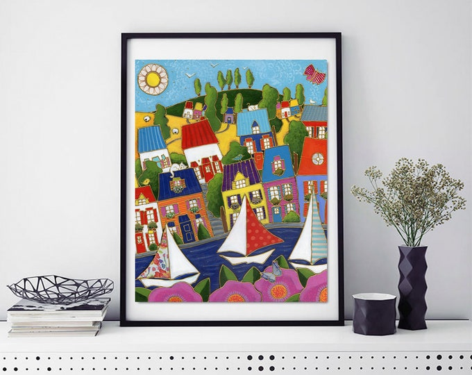 Poster wall decoration  landscape colourful houses sailboat pink flower
