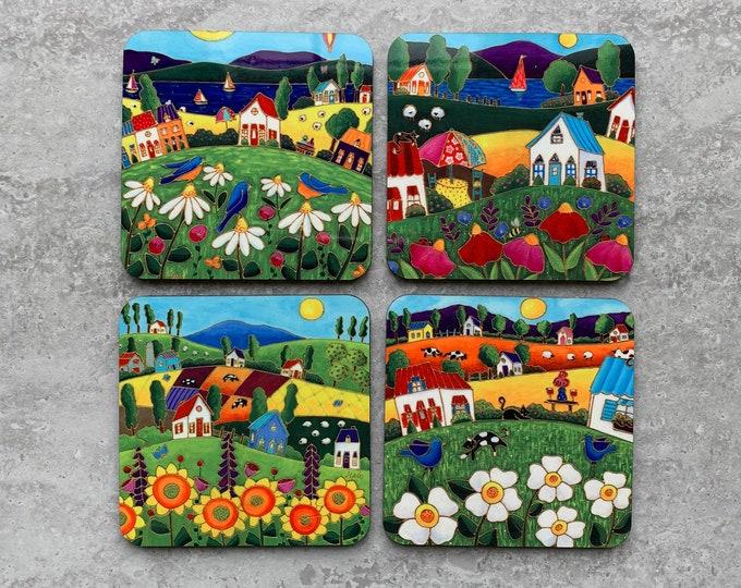 Set of Coasters wood cork landscape colourful house blue bird sunflower colourful flower daisy