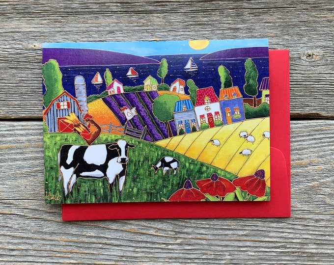 Greeting card landscape colourful houses farm cow sheep rooster hen lake sailboat red flower