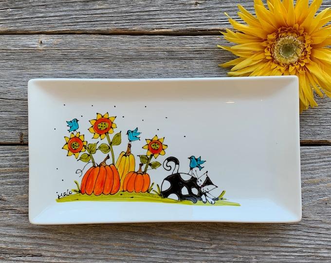 Rectangle plate white porcelain Cat pumpkin sunflower blue bird hand paint