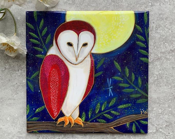Ceramic tile trivet barn owl moon art print ceramic