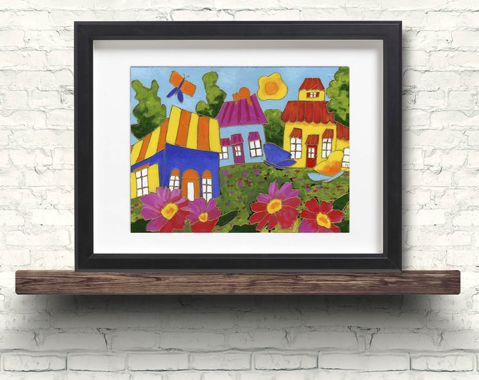 Poster wall decoration colourful houses red and pink flower