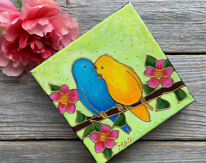 Original acrylic painting on canvas bird lover