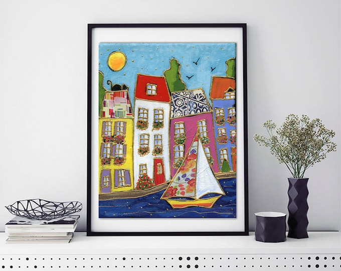 Poster wall decoration colourful houses sailboat