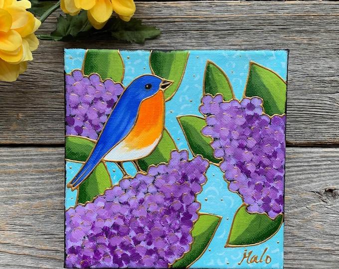 Original acrylic painting on canvas blue merle purple lilac blue sky