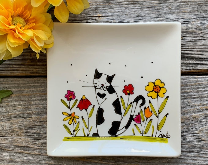 Rectangle plate white porcelain spoon holder black and white cat colourful flower hand paint