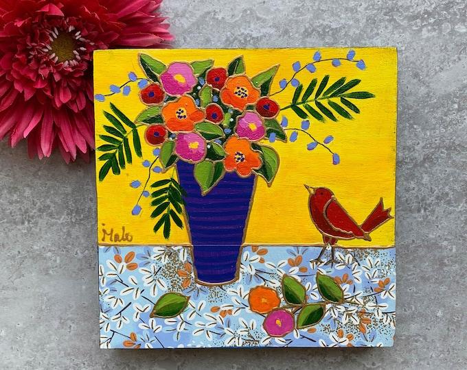 Original acrylic painting wood frame colourful flower vase red bird