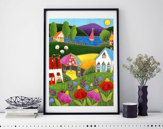 Poster wall art country landscape colourful houses red and pink flower sailboat