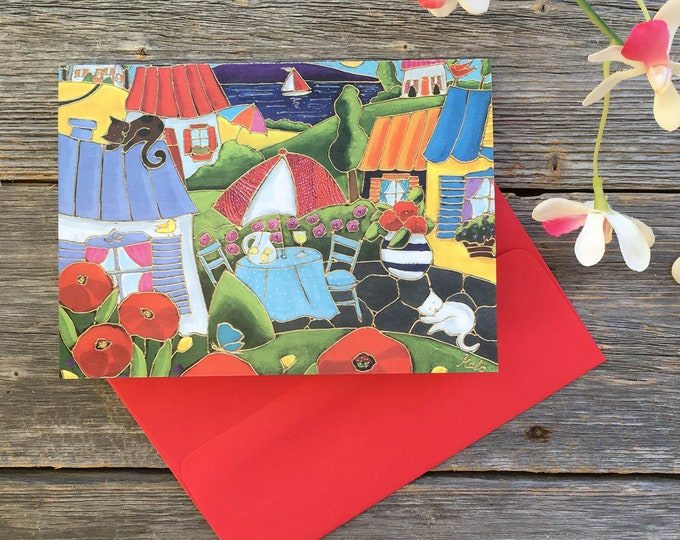 Greeting card poppy landscape colourful houses