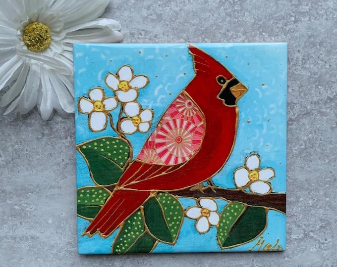 Ceramic tile trivet red cardinal bird art print ceramic