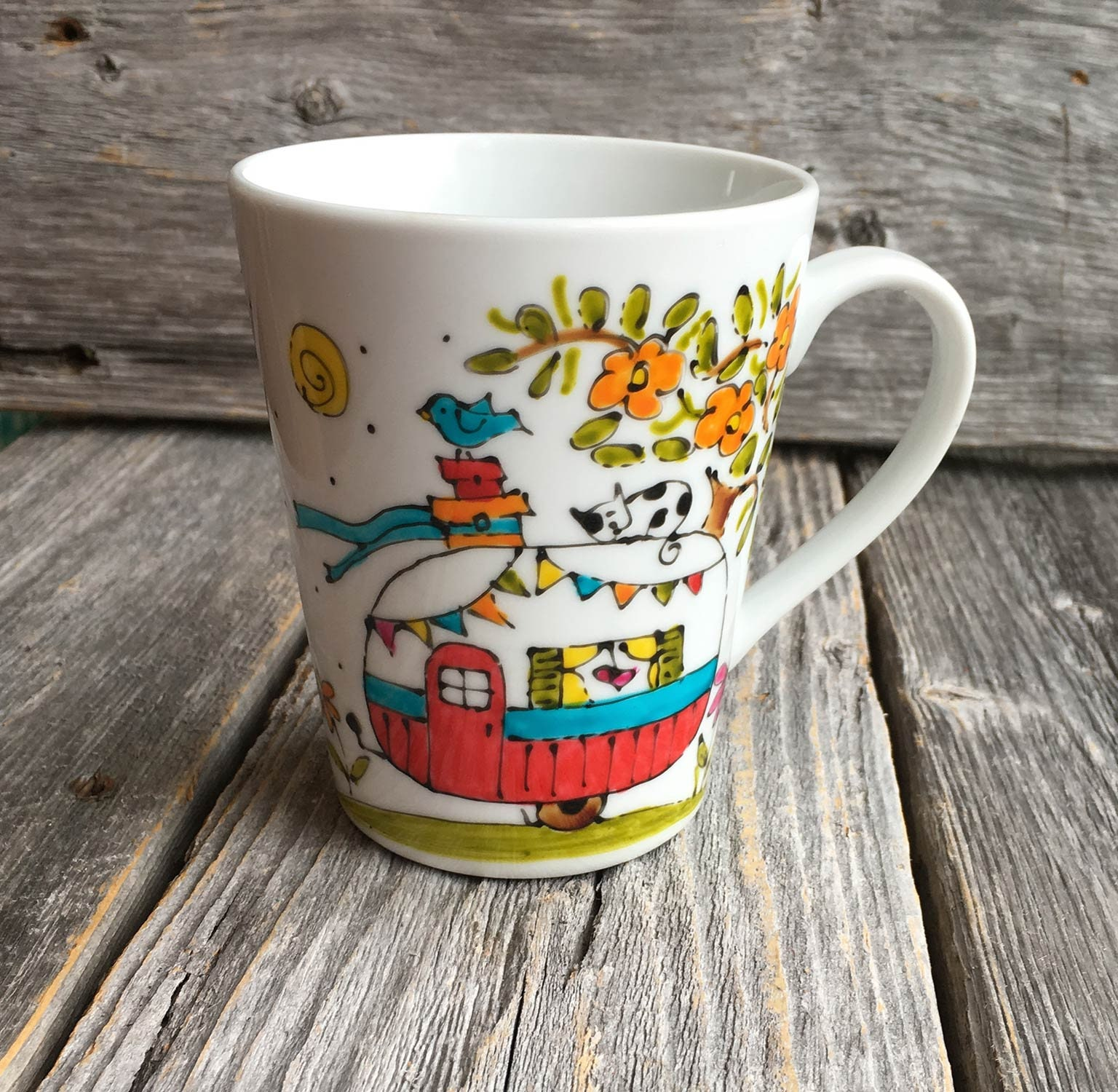 3e16ba17905 Porcelain coffee mug, Camping trailer, unique hand paint