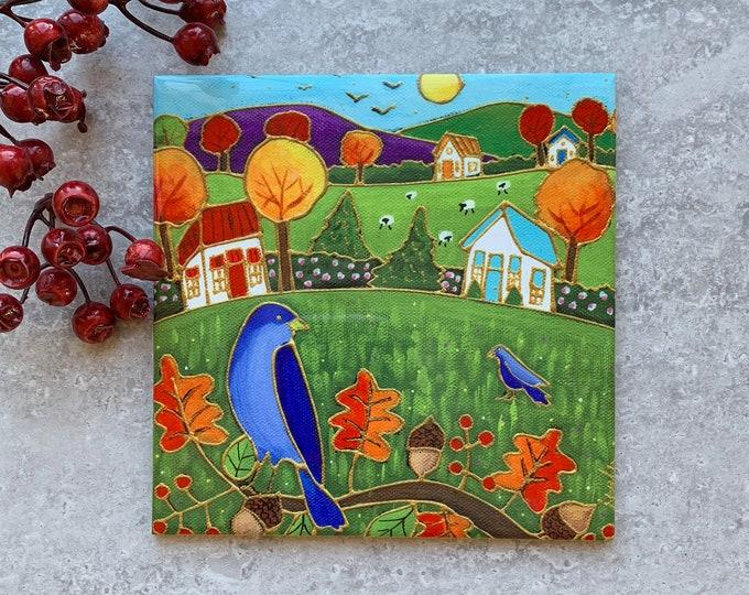 Ceramic tile trivet colourful autumn landscape blue bird art print ceramic