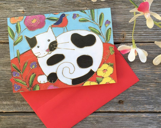 Greeting card black and white cat