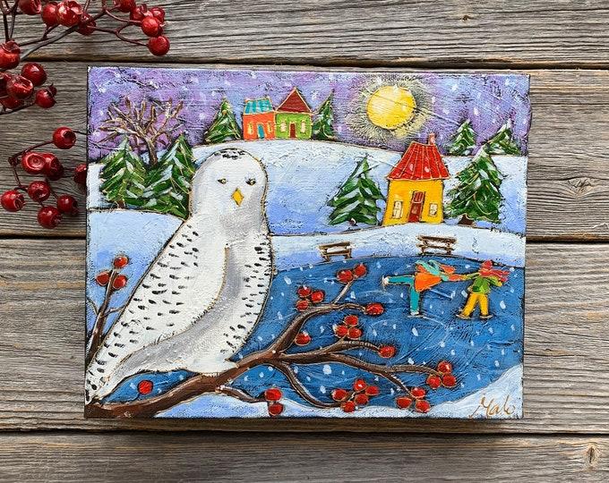 Original acrylic painting on canvas landscape colourful houses Snowy owl skater