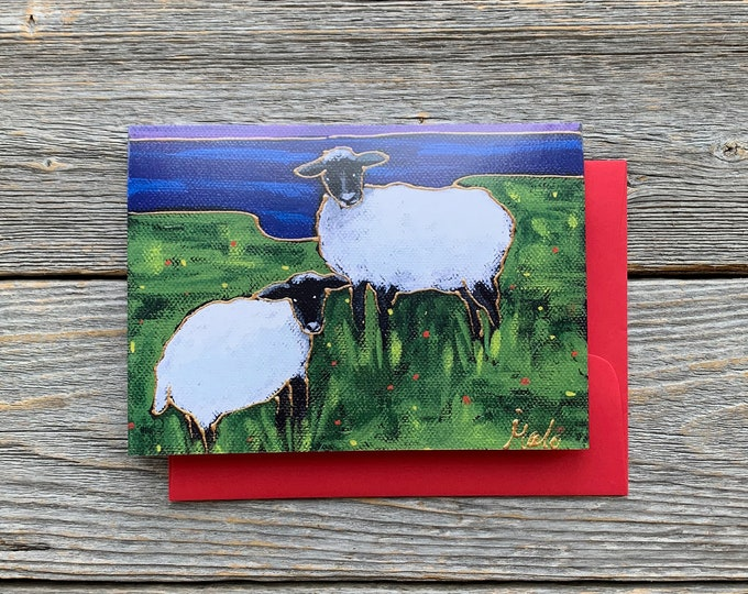 Greeting card two sheep lake art print