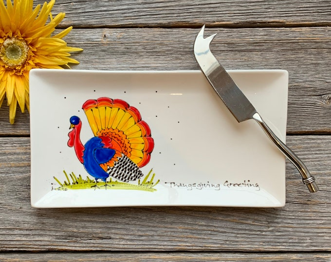 rectangle porcelain plate colourful wild turkey thanksgiving