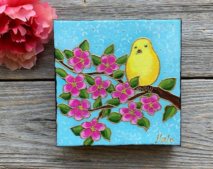 Original acrylic painting on canvas yellow bird canary pink flower blue sky