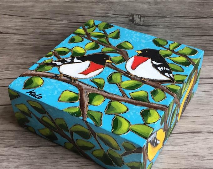 Original acrylic painting birds Rose breasted Grosbeak goldfinch Tangaras