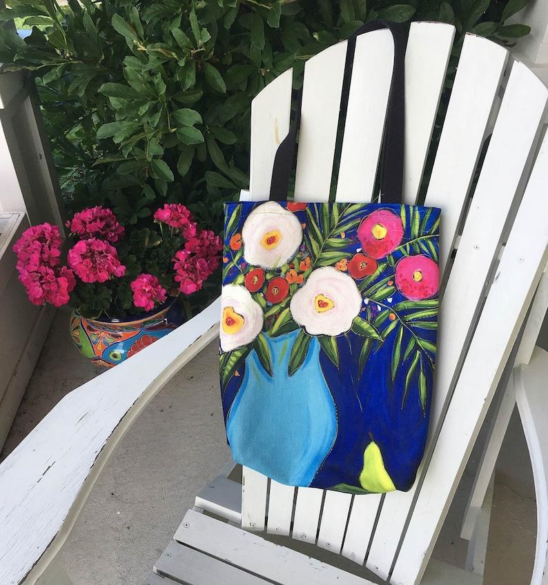 Market bag Tote bag floral yoga bag, shopping bag Canvas bag