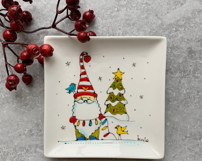 Small square porcelain plate or tray hand painted Christmas gnome