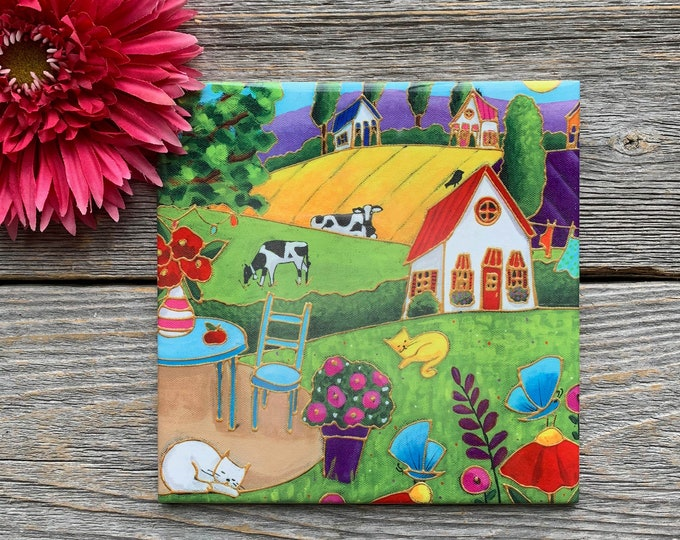 Ceramic tile trivet landscape colourful houses table cat cow butterfly art print ceramic