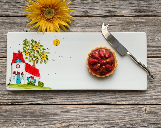 Serving tray cheese plate house red roof hand paint