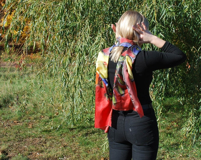 Silk scarf red blue yellow flower for woman