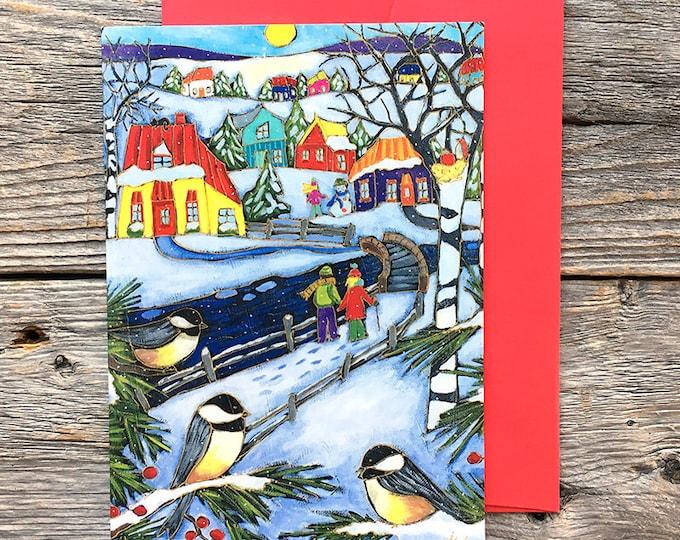 Greeting card winter scene chickadee